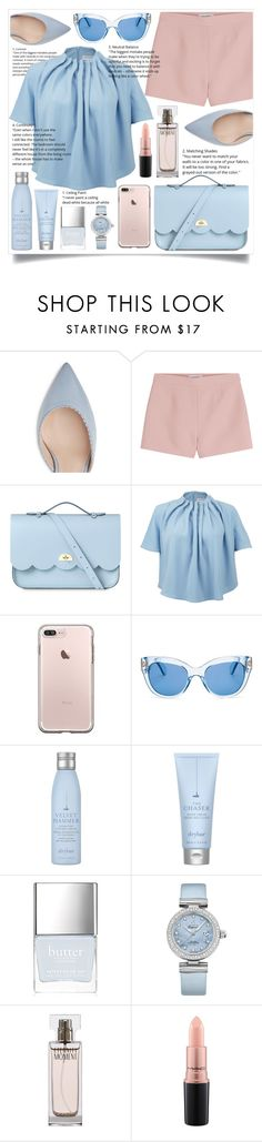 """""""💗💙💗💙Baby Pink and Blue💙💗💙💗"""" by hanna0 ❤ liked on Polyvore featuring Valentino, The Cambridge Satchel Company, Keepsake the Label, Kate Spade, Drybar, Butter London, OMEGA, Calvin Klein and MAC Cosmetics"""