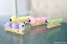 Cute caterpillar clothespin kids craft made out of pompoms, a fun anytime craft for kids