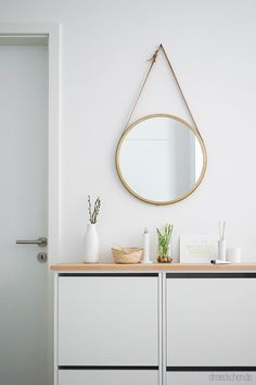 Hallway ideas: get inspired in the community!- Our entrance area: round mirror and IKEA shoe cabinet Hack # round mirror # hallway # storage space # entrance area Hallway Storage, Storage Spaces, Bathroom Storage, Ikea Bissa, Diy Kallax, Closet Ikea, Ikea Shoe Cabinet, Shoe Cupboard, Kitchen Ikea