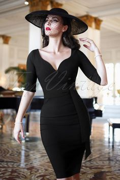 c5466a3cdfa The Bombshell Sleeved Pencil Dress in Black. Bra Strap HolderFifties FashionFifties  ...