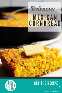 An easy and delicious recipe for Mexican Cornbread! Made in a cast iron skillet for all those crispy edges and loaded with sharp cheddar cheese, jalapenos, and green onions! (no yeast bread, yeastless) Easy Summer Meals, Healthy Summer Recipes, Quick Healthy Meals, Easy Meals, Easy Recipe For Mexican Cornbread, Mexican Food Recipes, Potluck Side Dishes, Side Dishes Easy, No Yeast Bread