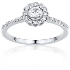 Belk  Co. White Gold Diamond Promise Ring In 10K White Gold ($945) ❤ liked on Polyvore featuring jewelry, rings, white gold, diamond jewelry, white gold jewelry, white gold jewellery, round cut diamond rings and round cut rings