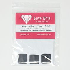 Free accessory now included with our kits. Use the cloth with our Jewel Brite Polishing Cream to restore the luster to your precious metals, and store them in the bag with the tabs to keep the metal from tarnishing...so you can polish less! You still need (should) polish regularly what you wear regularly, but for the things you don't store them securely with the tabs. Tarnish Remover, Cleaning Kit, Luster, Restore, Precious Metals, Biodegradable Products, Costume Jewelry, Polish, Jewels