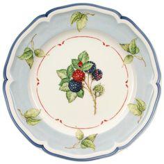 #Blue rim salad plate with #leaf details | Cottage collection
