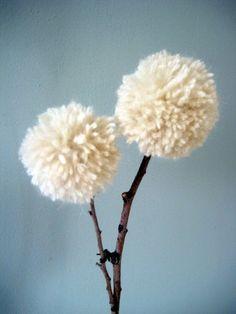 yarn pom-pom flower - 6 pieces - customizable. $8.00, via Etsy.