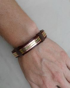 Men's Leather Bracelet Men's Copper and Brass Bracelet Men's Leather Bracelet Men's Copper bracelet Brass Bracelet Leather Bracelet Leather Cuffs, Leather Belts, Leather Jewelry, Leather Men, Leather Bracelets, Leather Jackets, Metal Jewelry, Brown Leather, Bracelets For Men