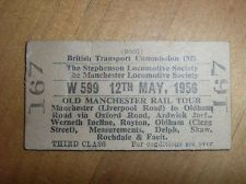 VINTAGE TRAIN TICKET STEPHENSON LOCOMOTIVE SOCIETY OLD MANCHESTER RAIL TOUR