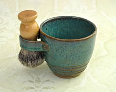 Shaving Mug in Rustic Sea Mist and Brown by MudsEvolutionPottery
