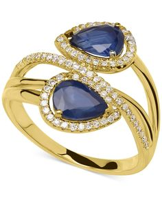 Equal parts beautiful and brilliant, this eye-catching ring flaunts pear-cut sapphires (1-3/4 ct. t.w.) lavished by single-cut diamonds (1/5 ct. t.w.). Crafted in 14k gold. | Photo may have been enlar