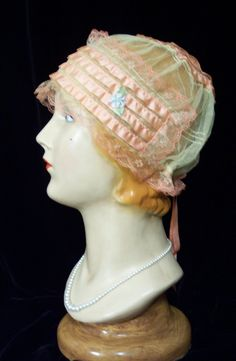 Vintage Candy Pink Silk Ribbon Lace Flapper Boudoir Cap Hat 20s 30s