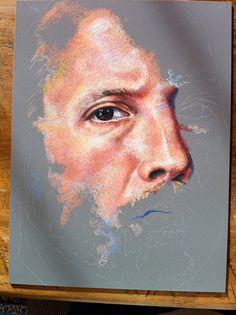 Colored Pencil Portraits | In-progress Colored Pencil portrait entitled Self Portrait VII