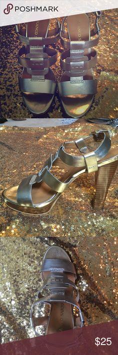 "NWOT! Franco Sarto gold sandals! NWOT! Franco Sarto light gold sandals. Size 7.5, heel height is 4.25"". Leather upper. Never worn! Franco Sarto Shoes Sandals"