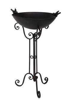 Black iron bird bath and stand : Black Country Metalworks Ltd