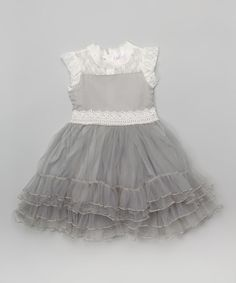 Another great find on #zulily! White & Gray Angel-Sleeve Dress - Infant by Blossom Couture #zulilyfinds