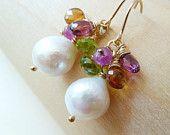 SALE Pearl, Peridot, Garnet, Sapphire, Citrine birthstone earrings. Stone. Cluster earrings. June birthstone. Dangle earrings. Pearl earrin