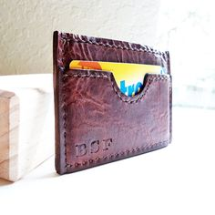 Slim Leather Wallet for Men - Front Pocket, Personalized, Handmade, Hand-stitched. $57.00, via Etsy.