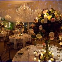 Real crystal chandeliers below an Ivory LED starcloth roof