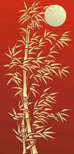Oversize Bamboo and Moon Stencil - Henny Donovan Motif handmade card . Bamboo Stencil used with go Stencils, Stencil Art, Stencil Patterns, Stencil Designs, Kirigami, Bamboo Crafts, Bamboo Art, Art Japonais, Screen Design