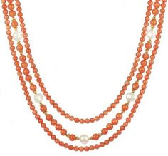 """3 Row Dyed Coral, White Freshwater Pearl and Gold Filled Bead Necklace, 16-18.5"""" Amazon Curated Collection,http://www.amazon.com/dp/B007VIMZRK/ref=cm_sw_r_pi_dp_-WZzrbC4E4BB43B1"""