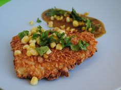 Corn Flake Crusted Fish Fillets w/ Roasted Tomatillo Sauce w/ Fried Corn