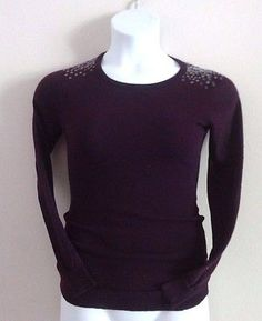 Dots Juniors Womens Large Purple Sequin Sweater Shirt LRG Longsleeve Casual Top