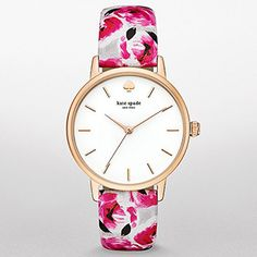 kate spade new york Rose Gold-Tone Floral Leather Metro Watch