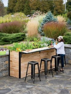Outdoor entertaining takes a new twist with our ingenious Plant-A-Bar. Grow herbs for your favorite cocktails so you can harvest a fresh sprig as you relax at the bar. Large enough for vegetables like tomatoes, too. Durable butcher-block cedar sides are crafted from reclaimed SFI-certified wood, with rustproof aluminum corners and trim. Bar shelf folds down when not in use. To make the most of our precious forest resources, we use reclaimed pieces of high-quality North American cedar from lumber Outdoor Patio Bar, Backyard Bar, Backyard Patio Designs, Diy Patio, Backyard Landscaping, Budget Patio, Outdoor Living, Diy Backyard Projects, Simple Outdoor Kitchen