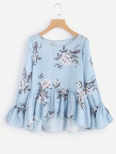 Flower Print Trumpet Sleeve Frilled Smock Top