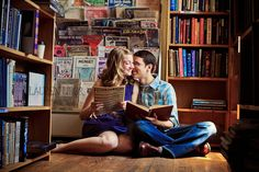 Cute-Bookstore-Engaged-Couple