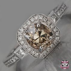 champagne diamond wedding rings - Google Search - I really really love the color of this diamond!! xoxo