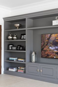 Orchard House, Essex – Humphrey Munson Kitchens – The Entertainment Built In Shelves Living Room, Built In Wall Units, Living Room Wall Units, Living Room Tv Unit Designs, Living Room Kitchen, Home Living Room, Wall Cabinets Living Room, Bookshelves With Tv, Wall Unit Designs