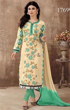 Buy 2016 Bollywood Fancy Dress Salwar Kameez Worn By Mouni Roy http://www.designersandyou.com/dresses/bollywood-dresses #Buy #2016 #Dress #Salwar #Kameez #Dupatta #Cotton #Nazneen #Embroidery #FullSleeve