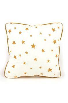 Kissen weiß mit braunen Sternen 20x20cm
