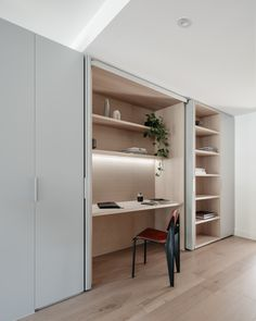 Office Nook, Home Office Space, Home Office Design, House Design, Apartment Renovation, Apartment Interior, Apartment Living, Light Gray Cabinets, Interior Architecture