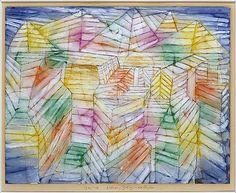 Teatro-Mountain-Construcción  Paul Klee (alemán (nacido en Suiza), Münchenbuchsee 1879-1940 Muralto-Locarno)  Fecha: 1920 Medio: El petróleo, gouache y tinta sobre papel Dimensiones: H. 13, W. 16-1/2 pulgadas (33 x 41,9 cm.) Clasificación: Dibujos Línea de crédito: La Colección Berggruen Klee, 1987