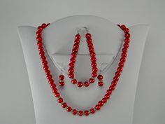 Red Pearl Necklace Earring Bracelet Set with by BridalTreasures4U, $30.00. Fire Engine Red