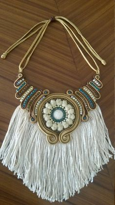 Soutache fringe necklace by mykmiaccesorios on etsy Feather Jewelry, Tassel Jewelry, Fabric Jewelry, Beaded Jewelry, Jewelery, Handmade Jewelry, Soutache Necklace, Beaded Earrings, Fringe Necklace