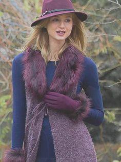 Pia Rossini Cameron hat Cranberry, Bardot wool glove with fur cuff, Anita fur waistcoat  www.piarossini.com