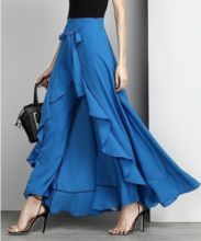Buy Women Chiffon Knot Tie Waist Ruffle Palazzo Pants Pure Color Long Skirts Style Elegant Wide Leg Pants at Wish - Shopping Made Fun Ruffle Pants, Skirt Pants, Dress Skirt, Chiffon Pants, Chiffon Ruffle, Ruffle Skirt, Harem Pants, Trousers, Royal Blue Tie