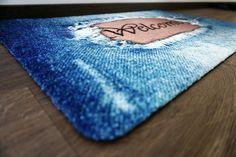 Amazon.de: DECO-MAT │ WELCOME / JEANS-BLAU │ Rutschfeste Fussmatte / Türmatte 40 x 60 Designer, Sunglasses Case, Jeans, Blue, Denim Pants, Denim Jeans