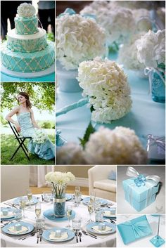 tiffany blue wedding theme cake