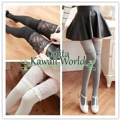 2 for 3 colors kawaii flowers lace fake over knees legging lk15083103