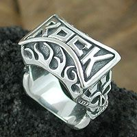 Rock On Fire Ring - Silver Jewelry for Rock Musicians