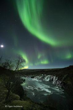 Hraunfossar (Lava Falls) and the Northern Lights