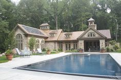 Pool Area Hedges Landscaping, Outdoor Walls, Outdoor Decor, Landscape Design, Exterior, Flooring, Mansions, Architecture, House Styles