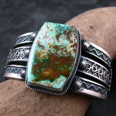 Pilot Mountain turquoise and sterling silver  cuff by Sunshine Reeves, Navajo