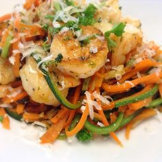 """DINNER: grilled garlic and parsley shrimps over zucchini and carrot """"pasta""""!"""