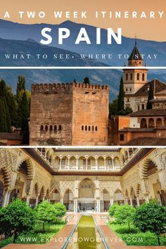 Stunning spots in Southern Spain you must see This is a detailed travel guide map for two weeks in Andalusiawhat to see and where to stay in Barcelona Sevilla Cordoba Gr. Europe Destinations, Europe Travel Tips, European Travel, Travel Guides, Travel List, Italy Travel, Croatia Travel, Travel Info, Travel Hacks