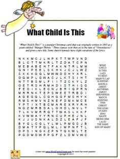 What Child Is This Word Search - Christmas printable puzzle