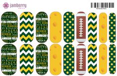 Green Bay Packer inspired wraps! Order at Erinelizabeth.jamberrynails.net Packers Games, Packers Baby, Go Packers, Green Bay Packers, Jamberry Wraps, Jamberry Nails, Nail Wraps, Jamberry Style, Packer Nails